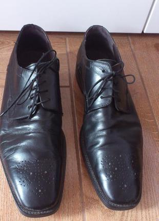 Туфли кожаные мужские черные пьер карден туфлі шкіряні чоловічі чорні pierre cardin р.46🇮🇹