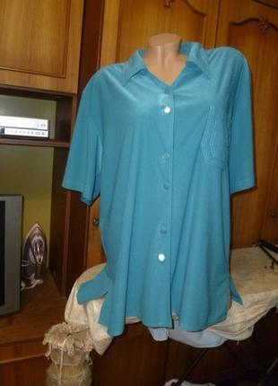 Удобная красивая трикотажная туника-рубашка-кофточка с коротким рукавом весна-лето