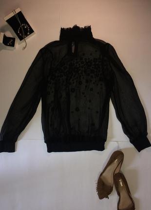 Блуза черный шифон с вышитыми цветами hsm s