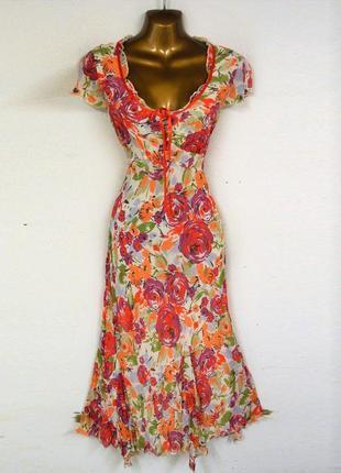 Платье asos marks & spencer c завязкой на груди, оборками и ярким цветочным принтом