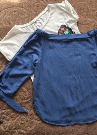 Блуза кофточка , открытые плечи , рукава на завязках , под джинс