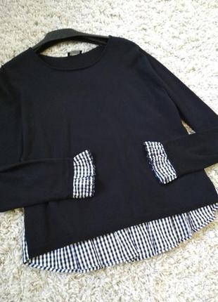 Очень оригинальный свитер с эмитацией блузы 2в 1, kookai, p. 12-14