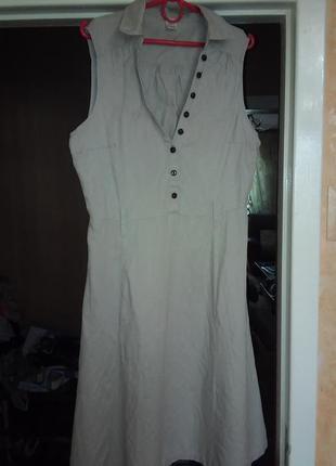 Льняное платье рубашка в стиле сафари на 48-50-52 миди лен