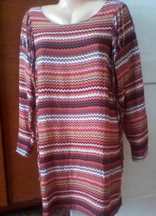 Вискозное платье с бахромой в этно бохо стиле от miss etam.