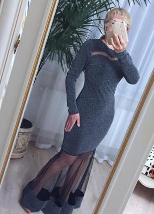 Платье рыбка нарядное люрекс фатин гламур италия s/m/l вечернее серебристый/черный
