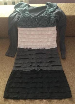 Тёплое платье каскад с вставкой вязанной крючком. тренд. стиль. размер м.