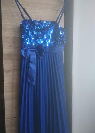 💥 1+1=3💥 нарядное синеее платье с пайтками м