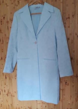 Голубой жаккард костюм длинный жакет + брюки ,  пиджак тренч
