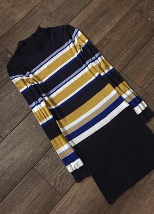 Платье гольф, горчичное, плаття в полоску.