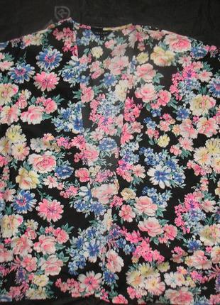 Шифоновое кимоно / накидка/ кардиган _ цветочный принт