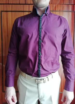 Приталенная, молодёжная, стильная рубашка