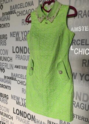 Платье футляр, яркое, флюоресцентный лайм
