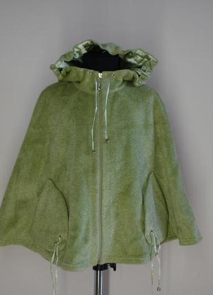 Панчо накидка с карманами теплая для девочки р 110-116