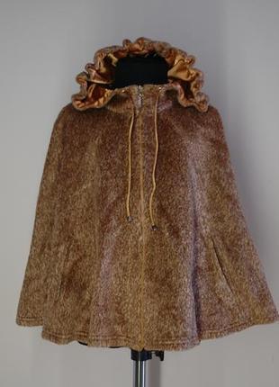 Панчо накидка теплая для девочки р 110-116