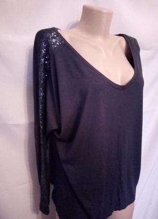 Стильная трикотажная блуза, украшена пайетками    №6bp