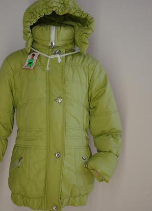 Куртка зимняя салатовая для девочки р.134