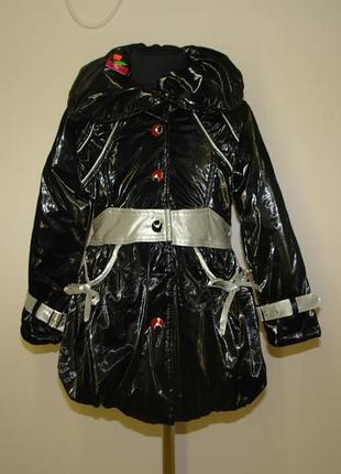 Куртка -пальто зимнее для девочки с высоким воротником р.7 110-116