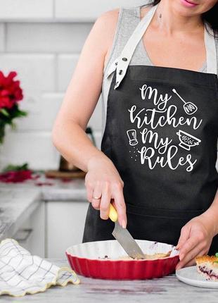 "Фартукиз саржи ""my kitchen. my rules"" черный"