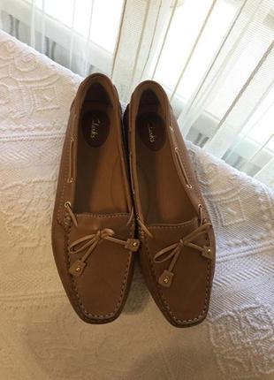Туфли мокасины кожаные clarks, новые!