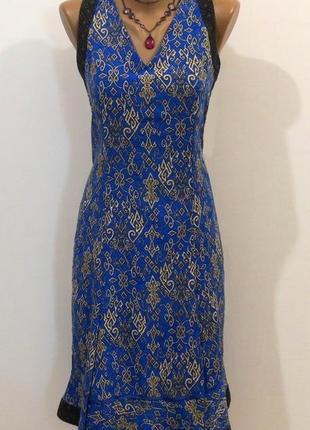 Стильное синее платье от kiry adam стройнит размер: 44-s, m