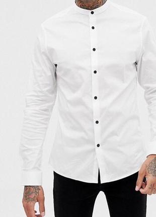 Мужская белая рубашка с воротником стойка { сорочка без воротника }