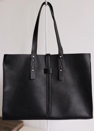 Черная сумка-шопер с ремешком манго mango италия1 фото