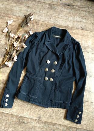 Блейзер пиджак в офицерском стиле от warehouse/синий,фактурный/котон