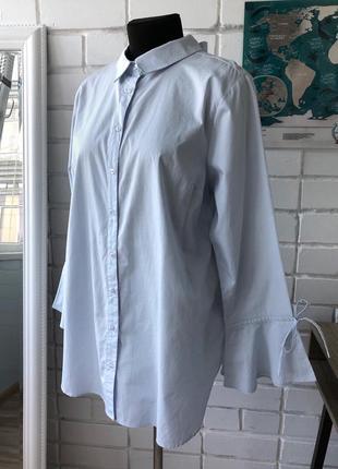 Голубая базовая хлопковая рубашка блузка с бантом и рукавами воланами л l