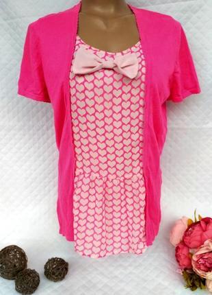 Красивая футболка-лонгслив  с шифоновой вставкой сердечки размер (44-48)