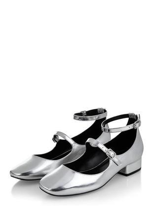 Зеркальные туфли с ремешками new look мери джейн