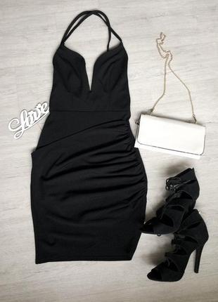 Вечернее чёрное платье от boohoo, 34/36