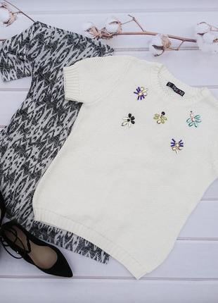 Нарядный кремового цвета свитерок с камнями 🔸 бренд fashion box