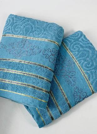 Полотенце махровое банное 140 х 70 см (голубое)