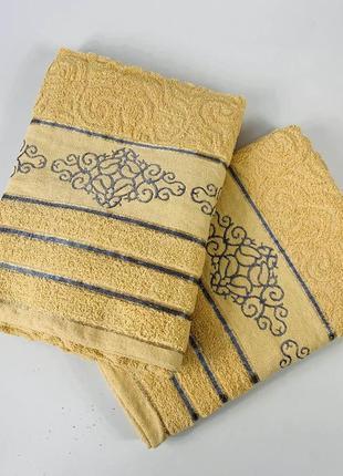 Полотенце махровое банное 140 х 70 см (жёлтое)