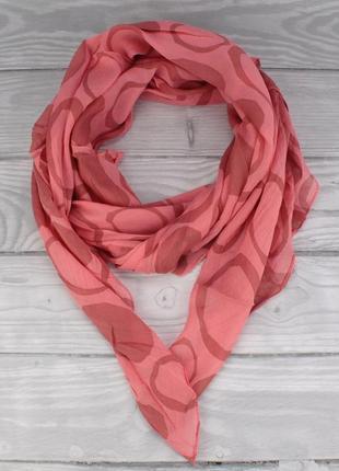 Итальянский шарф girandola 0001-82 коралловый, коттон 80%, шелк 20%, дефект прокраски