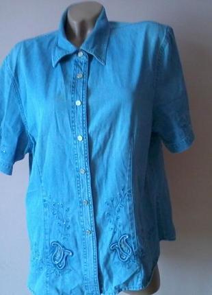 Джинсовая блузка с вышивкой 48р