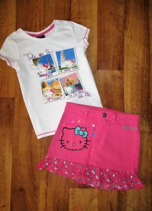 Нарядный летний комплект hello kitty: юбка и футболка, 6-8 лет, рост 122-128 см