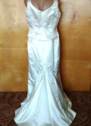 👗  46-48-50-52 платье нарядное свадебное костюм со шлейфом с вышивкой jacques vert