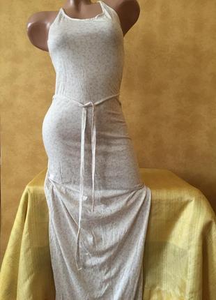 Длинный стрейчевый сарафан в пол xs