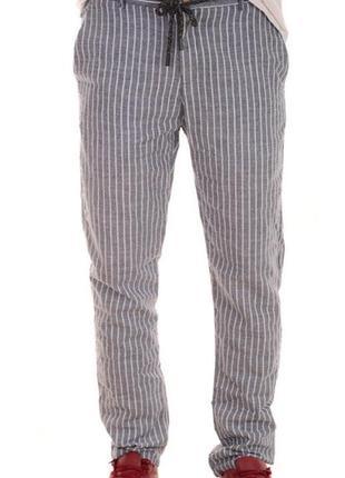 Мужские летние брюки в полоску,  лен, хлопок.