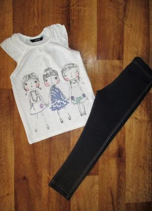 Летний комплект george: футболка и леггинсы, 4-5 лет, рост 104-110 см, хлопок