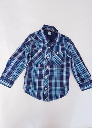 Стильная рубашка в клетку на кнопках, на 1,5-2 года