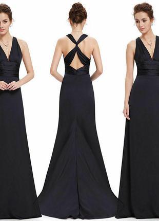 Черное вечернее макси платье со шлейфом