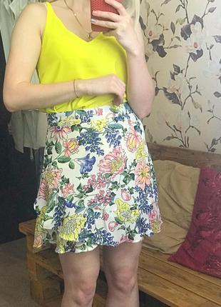 Юбка с рюшами , красочная юбка , юбка в цветах