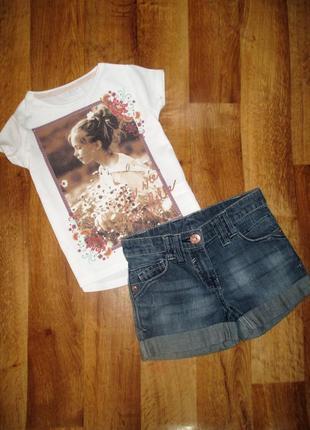 Летний комплект next: футболка и шорты, на девочку 5-6 лет, рост 116 см
