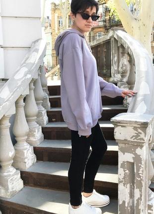 Худи серо-лавандовый женский2 фото