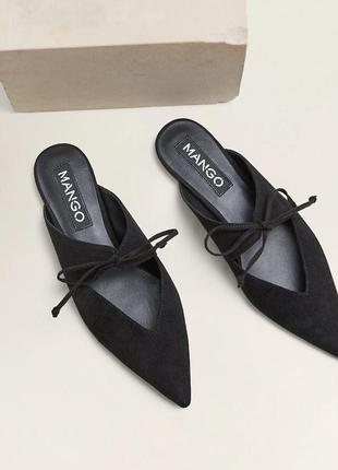 Кожаные туфли-мюли с завязками