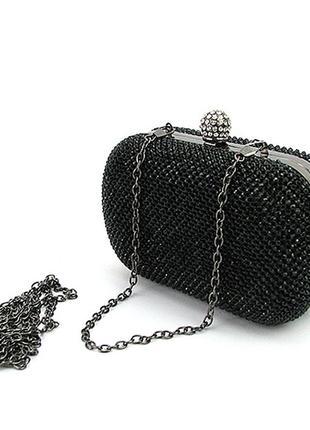 Клатч черный вечерний из камней маленькая сумочка через плечо бокс