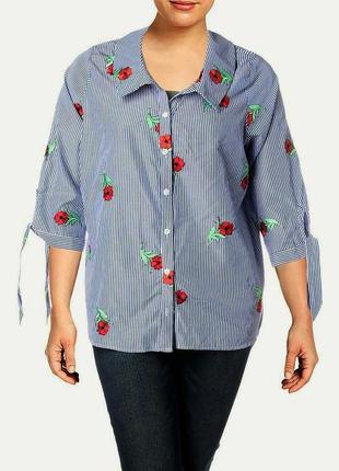 Офисная полосатая рубашка вся вышитая цветочками, рукава 3/4, батал plus 2x  на 54-56 р