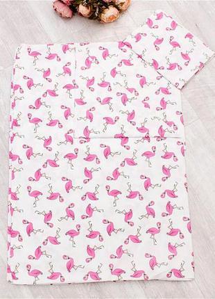 Фламинго малиновые, детское постельное белье (поплин, 100% хлопок)